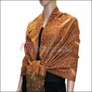 Multi Colored Paisley Pashmina  <br>Red w/ Saffron