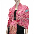 Multi Colored Paisley Pashmina<br>Magenta w/ Turquoise
