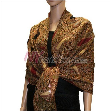 Multi Colored Paisley Pashmina <br>Red