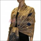 Multi Colored Paisley Pashmina <br>Royal Blue