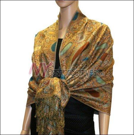 Multi Colored Paisley Pashmina <br>Saffrone w/ Turquoise