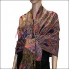 Multi Colored Paisley Pashmina <br>Royal Blue w/ Burgundy