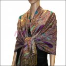 Multi Colored Paisley Pashmina <br>Turquoise w/ Violet Red