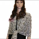 Leopard Print Pashmina Shawl <br>White/Brown