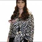Zebra Print Pashmina Shawl <br>White / Black