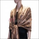 Rose Pattern Pashmina <br>Bronze