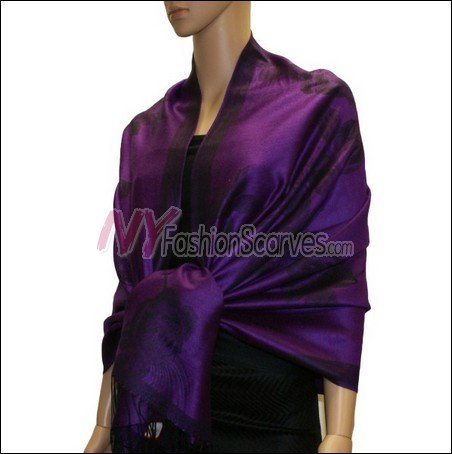 Rose Pattern Pashmina <br>Purple
