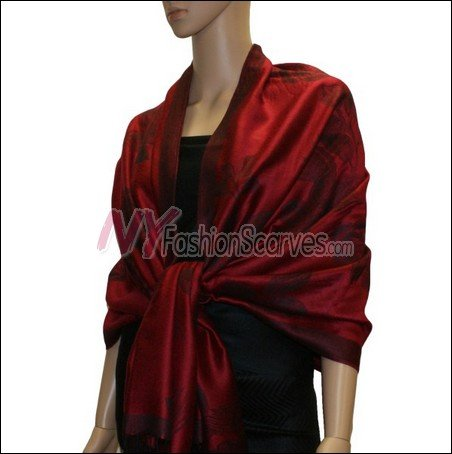 Rose Pattern Pashmina <br>Jujuba Red