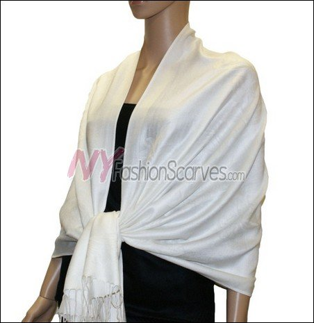 Rose Pattern Pashmina <br>White