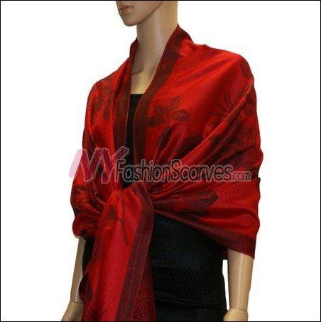 Rose Pattern Pashmina <br>Red