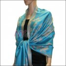Rose Pattern Pashmina <br>Teal