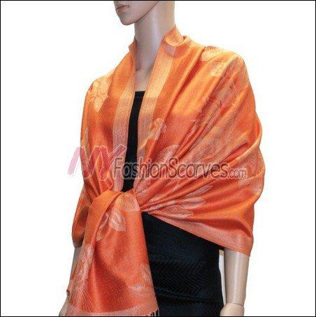 Rose Pattern Pashmina <br>Orange