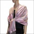 Rose Pattern Pashmina <br>Grey w/ Pink