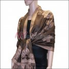 Rose Pattern Pashmina <br>Dark Brown