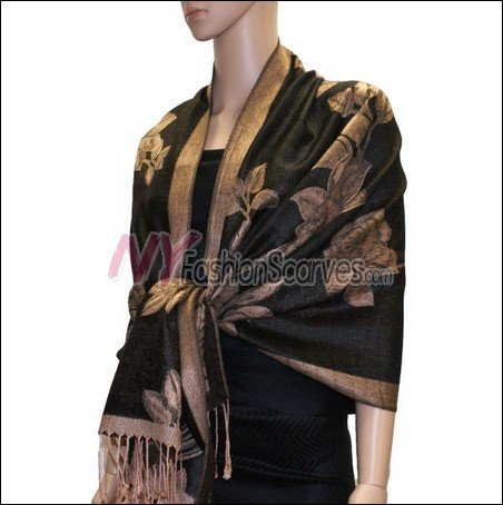 Rose Pattern Pashmina <br>Tan w/ Black
