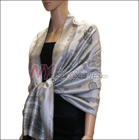 Paisley Pattern Scarf <br>Grey