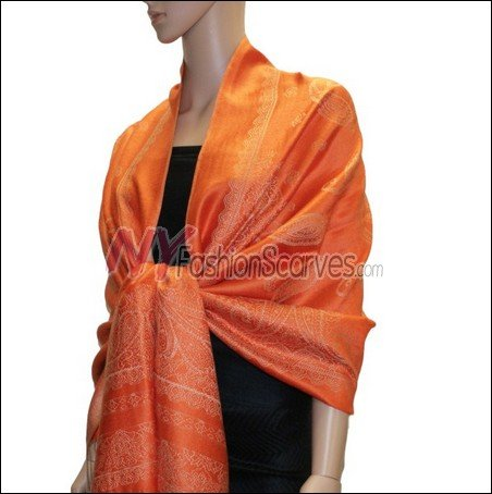 Paisley Pattern Scarf <br>Tangerine