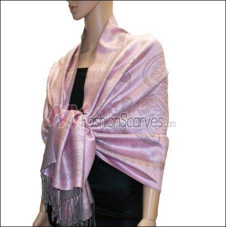 Paisley Pattern Scarf <br>Grey w/ Pink