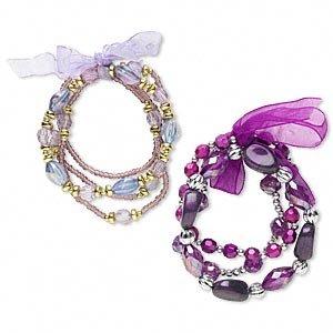 2 Bracelets -acrylic, glass and organza ribbon, purple/lavender/gold/silver 7-1/2 inch