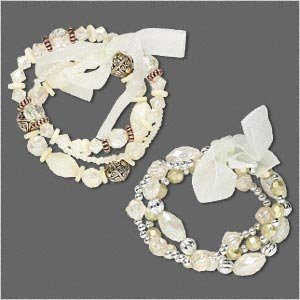 2 Bracelets stretch, acrylic, glass and organza ribbon, cream/clear/silver/brass,  7-1/2 inch