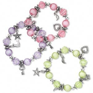 3 Bracelet, acrylic, multicolored with silver-colored beads and charms, 7-inch stretch
