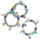3 Bracelet, glass, multicolored with silver-colored beads and charms, 7-inch stretch.