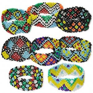 8 Bracelet mix, glass, multicolored, 7-inch stretch seed bead.