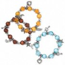 3 Bracelet, acrylic, multicolored with silver-colored beads and charms