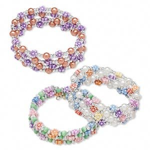 3 Bracelet, acrylic, steel memory wire, multicolored, 3mm and 6mm rounds, 6mm flowers