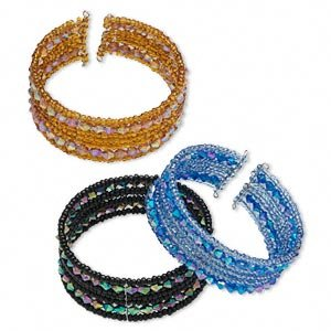 Bracelet, cuff, glass, acrylic and metal, assorted colors, AB bicones and rondelles,