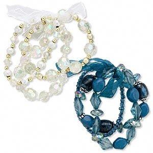 2 Bracelet, acrylic, blue and clear AB, stretch.