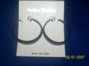 Fashion Earring-Hoop/Color/Black