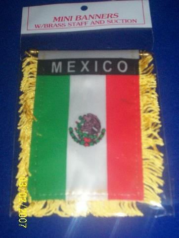 "Mini Banner- 4"" x 6""-  MEXICO Flag"
