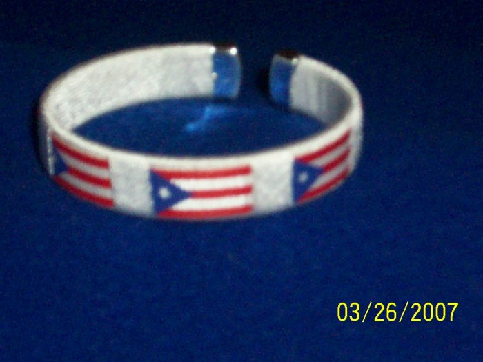Puerto Rico - Flag Bangle - White