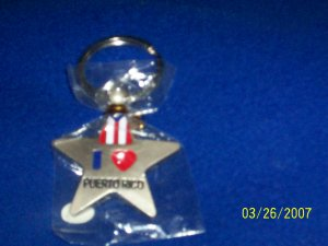 Puerto Rico Flag - Key Chain - Star