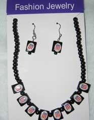 Puerto Rico Flag Set of Earings and Necklace