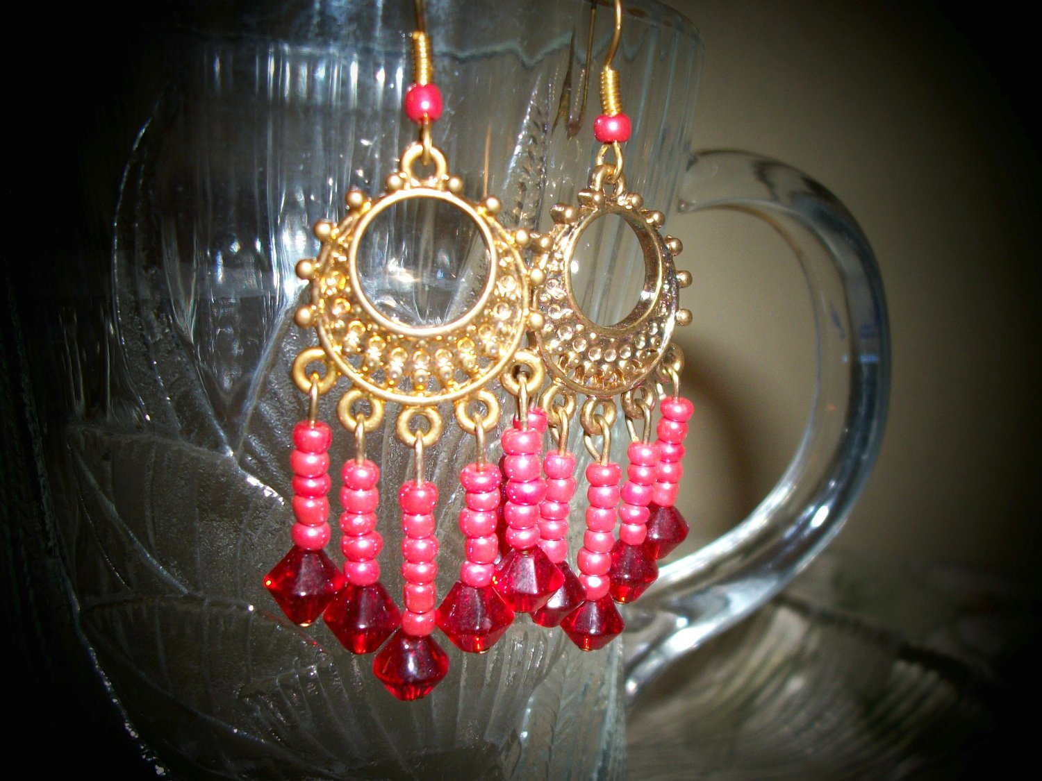 Gold Plated Red Dangle Glass Beaded Earrings