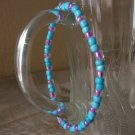 Handmade Flexible Blue & Purple Glass Beaded Bracelet