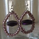Handmade Purple Teardrop glass bead Earrings