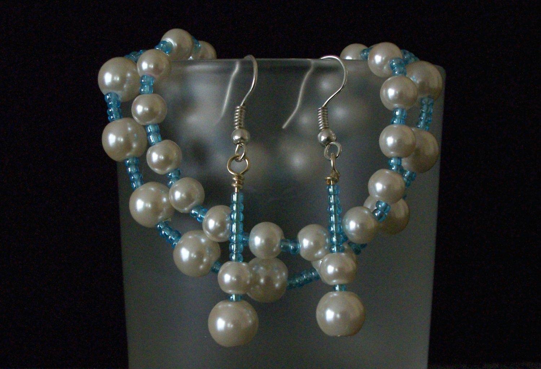 Sky Blue & Pearl Glass Beaded Earrings. Bracelets set