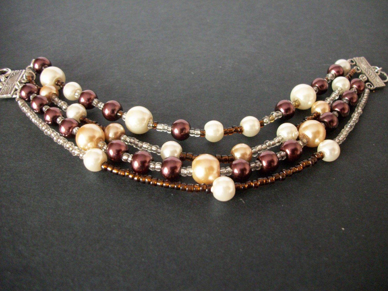 Chocolate Pearl Multi Strand Bracelet