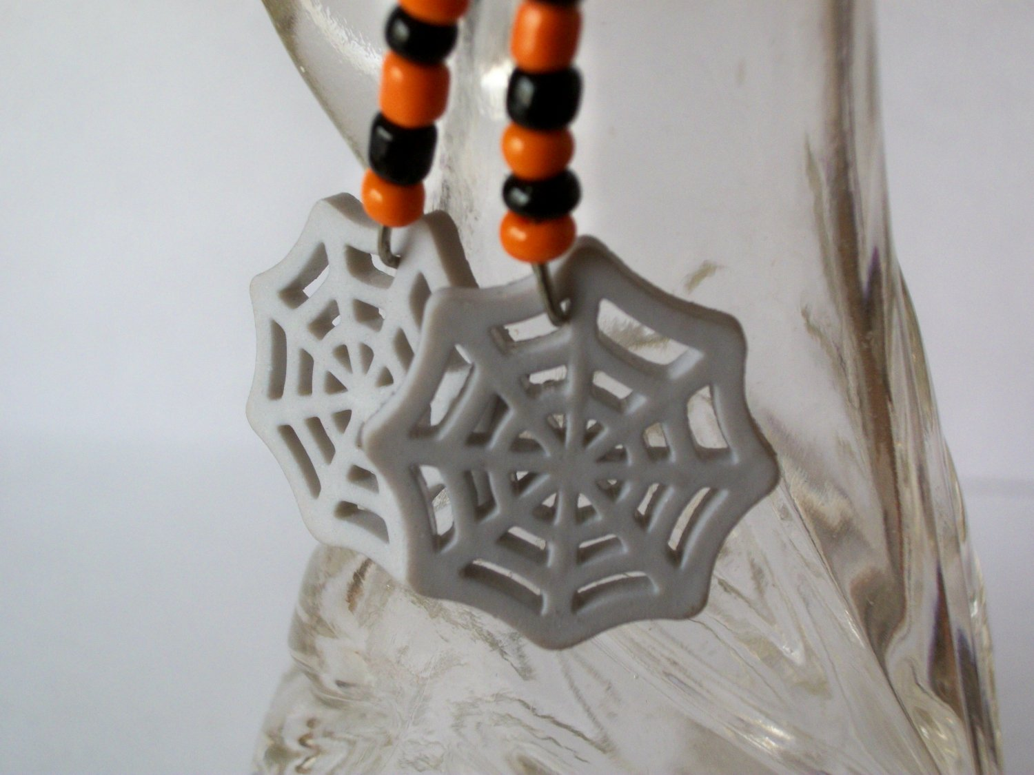 Black & Orange Beaded Earrings with Halloween Web