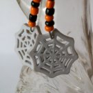 Black & Orange Beaded Earrings with Halloween Web