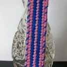 Handmade Blue and Pink Striped Plastic Canvas Bookmark