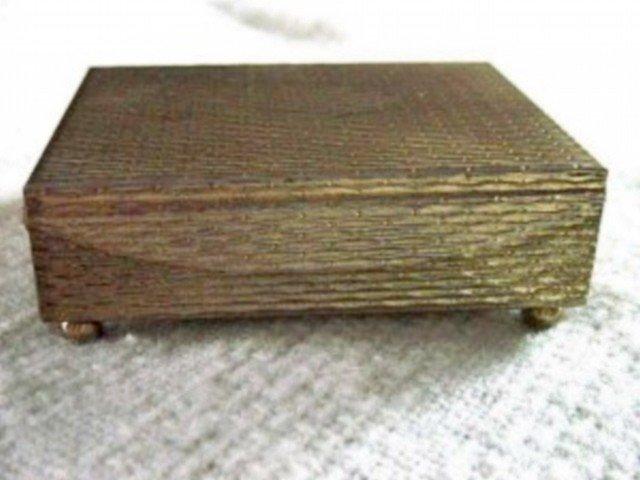 Vintage Footed Brass Trinket Jewelry Box #00008