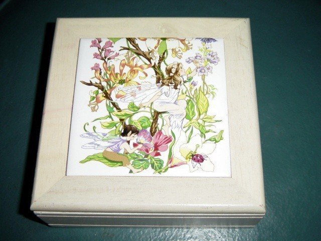 White Washed Wooden Jewelry Box Fairy Tile on Lid #00117