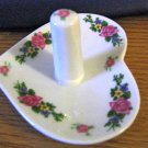 White Heart Shaped Porcelain Floral Pattern Ring Holder with Tray #00195