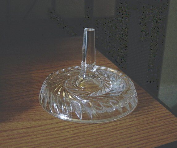Clear Glass Swirl Cut Vanity Ring Holder with Tray #00199