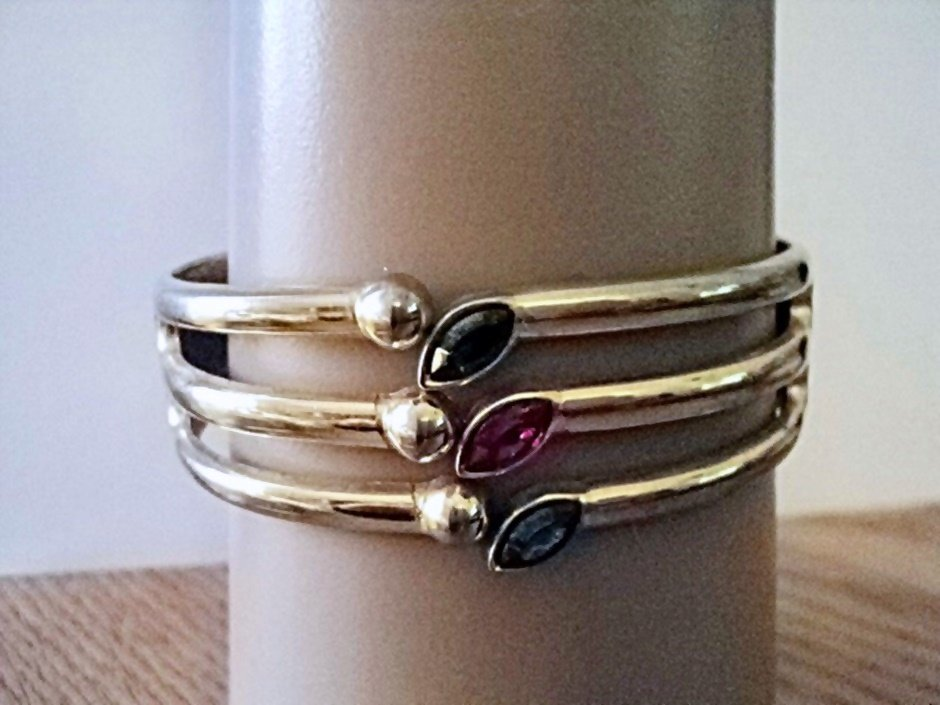 Gold Tone Cuff Bracelet Colored Rhinestones  #00085