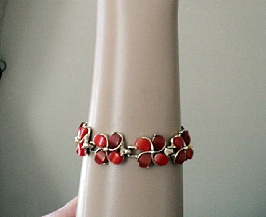 "6"" Gold Tone Rose Pink Stone Flowers Bracelet #00002"